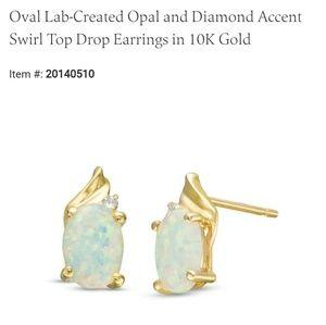 Lab-created Opal Swirl Top Drop Earrings 18Kt Gold